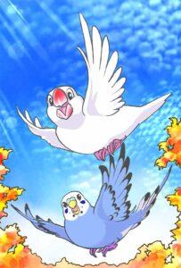 秋空に舞う一歳になった文鳥とセキセイインコ