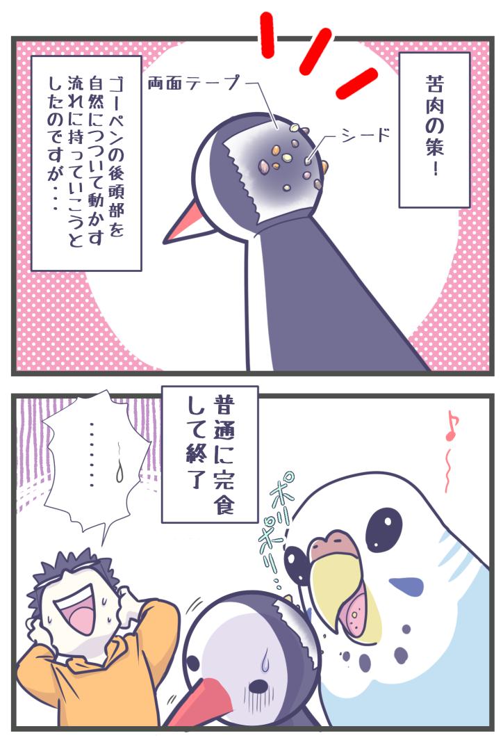 ゴーゴーペンギンの芸を頑張るセキセイインコ